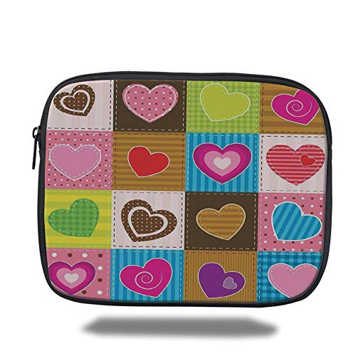 Laptop Sleeve Case,Farmhouse Decor,Patchwork Themed Cute Heart Shaped Figures with Varying Backgrounds Love Artwork,Multi,Tablet Bag for Ipad air 2/3/4/mini 9.7 inch - Zwei Pocket Case Top-loading