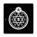 Colorpur Victorian Astrology Skull On Black Wooden Square Coaster - 9.5 cm x 9.5 cm | Artist: Designer Chennai