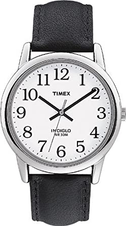 timex men s t20501 quartz easy reader watch white dial timex men s t20501 quartz easy reader watch white dial analogue display and black leather strap