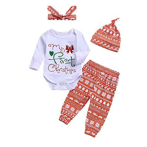 (Quaan Herbst Winter Festival 4 STÜCK Weihnachten Kleinkind Baby Brief Drucken Spielanzug Hose Hut Stirnbänder Einstellen Outfit Sweatshirt zur Seite Fahren Warm Niedlich Party weich Outwear)