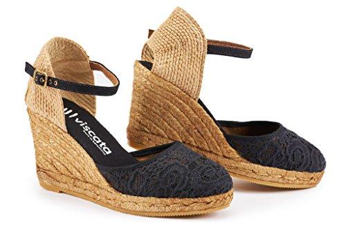VISCATA Barcelona Damen Satuna, Schwarz - Crochet Black - Größe: 42 EU M (Sandal Peep Up Toe Lace)