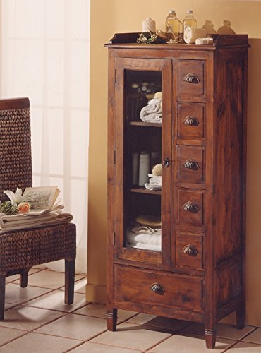 Mobile vanity in Teak massello, stile etnico coloniale moderno realizzato artigianalmente in legno di Teak - SCONTO OUTLET