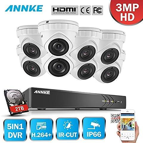 ANNKE 8CH HD-TVI H.264+ DVR (8) Caméras 3.0MP Jour/Nuit Intérieur Extérieur Système de Vidéosurveillance Dôme Caméra de Surveillance Détection de mouvement avec Disque Dur de 2TB