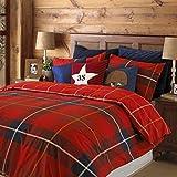 Schottenmuster Kariert Rot Umkehrbar Baumwollmischung Einzel Bettwäsche
