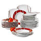 MALACASA, Serie Felisa, 36 Pezzi Servizio Piatti in Porcellana Bianca con 12 Piatti da Dessert, 12 Piatti Fondi e 12 Piatti per 12 Persone