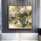 Antica pittura cinese Stampa Poster su tela Lotus Pond Koi Pesce Wall Art Immagini Per Soggiorno Studio Decor No Frame60x60cm