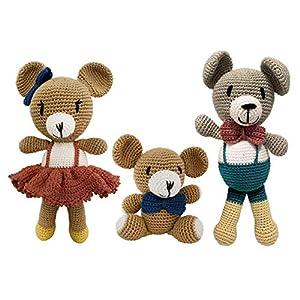 LOOP BABY gehäkelte Teddybären-Familie aus Bio-Baumwolle – waschbar & strapazierfähig – personalisiertes Geschwistergeschenk zur Geburt – Puppenfamilie – brauner Teddy