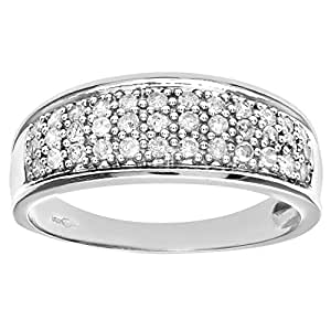 Naava 9 ct White Gold Quarter Carat Diamond Multi Row Eternity Ring, White Gold, J