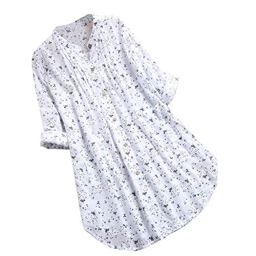 Qmber Ostern Frühling Sommer Mode Damen Damen Gedruckt Kalte Schulter Slash Neck Casual Täglichen Party T-Shirt Solide Reine Farbe Lace Patchwork Long Sleeve Baumwolle Leinen/White2,4XL -
