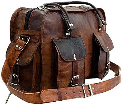 Gusti Cuir nature - Sac de voyage Timothy Bagage à main Sac bandoulière sac de sport vintage unisexe en cuir de chèvre Marron R35b