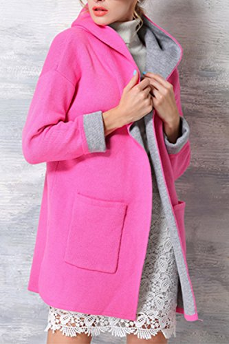 Le Donne Incappucciati Hanno Aperto Fronte Della Carica Informale Caldo Trechcoat Outwear Red