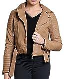 Diana Frauen Faux-Leder-Gold oder Metallknopf Zip Crop Damen Biker-Jacken-Mantel