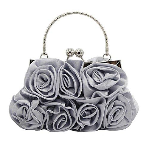 VJGOAL Damen Brautbeutel, FrauAbendpaket Kupplung Satin Rose Rein Farbe Handtasche Abendtaschen Hochzeit Handtaschen
