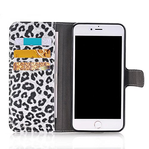 iPhone Case Cover Leopard Punkt Muster Wallet Stand Case Retro Flip Wallet Stand Case für Apple IPhone 7 Plus ( Color : 1 , Size : IPhone7 Plus ) 1