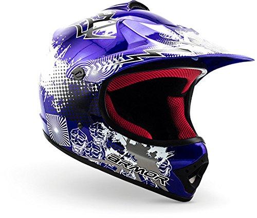"""ARMOR · AKC-49 """"Blue"""" (Blau) · Kinder-Cross Helm · Sport Enduro Kinder Moto-Cross Motorrad Off-Road · DOT certified · Click-n-Secure™ Clip · Tragetasche · S (53-54cm)"""