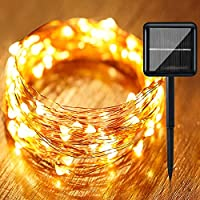 KVK Solar Fairy Lights, 200 LED 65.6Ft Copper Wire Lights, String Lights, Indoor Outdoor Waterproof Solar Decoration Lights for Gardens, Home, Gazebo, Party, Christmas
