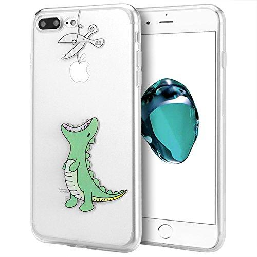 iPhone 7 Plus Hülle, APICI Transparent TPU Case Silikon Tasche Hülle Silicon Protector Schutzhülle Handyhülle mit Schmetterling-Mädchen für iPhone 7 Plus Krokodilmuster