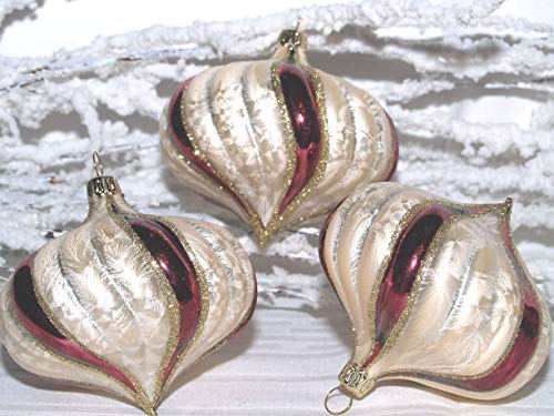 "Christbaumkugel Zwiebelform champagner/bordeaux 8cm 3fach von ""Jingle Bells Lauscha"""