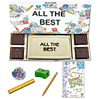 BOGATCHI All The Best Chocolate Gift for Exams, White Chocolae Bar + 4pcs Dark Chocolate + Free All The Best Card + Exam Kit for Kids