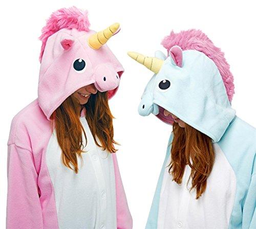 Einhorn Pyjamas Kostüm Jumpsuit Tier Schlafanzug Erwachsene Unisex Fasching Cosplay Karneval Pink