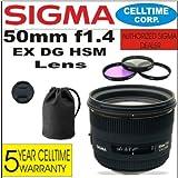Sigma 50mm f1.4EX DG HSM Objektiv für Canon Digital SLR Kameras + 3teiliges Filter-Set mit Tasche + Objektiv Fall + celltime 5Jahre Garantie