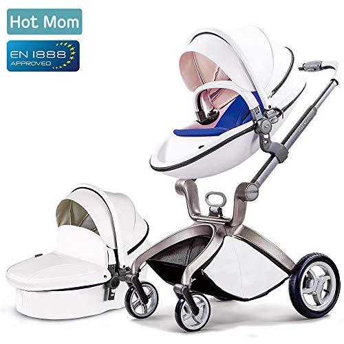 Star el mismo párrafo,Hot Mom Cochecito de Bebe 2018 - Sillita de paseo 3 en 1 Multifuncional Sistemas de viaje,buenos amortiguadores, asiento regulable en altura, multi-ángulo ajustable, reversible,color blanco,Obtener:Baby bed Rail