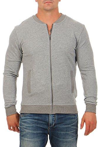 Happy Clothing Bomberjacke aus Baumwolle mit Reißverschlusstaschen, Fliegerjacke Pilotenjacke College Baseball, Größe:L, Farbe:Grau...