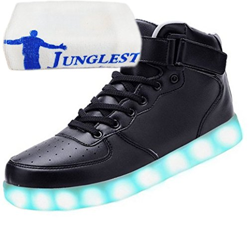 present Velcro Toalha Adulto Usb Pequena Calçados Com Preto Junglest® Sete Sapatilha Para Unisex Tênis Led Topo De Esportivos Cores Carregamento Couro Calçados Alta Esportivos Brilhante r4rqwCxg5