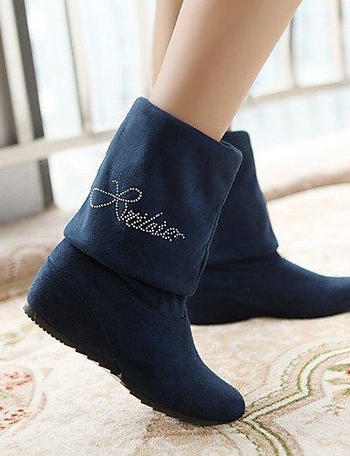 ShangYi Mode Damenschuhe Stiefel der Keile / Fashion Stiefel Kunstleder Outdoor / Büro & Karriere / Casual Keilabsatz OthersBlack / Blau Schwarz