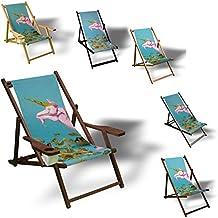 Papier Einhorn - Liegestuhl bedruckt Balkon Garten Sonnenliege Relax Holz Terrasse, Variante:Aluminium. Schwarz