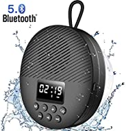 AGPTEK Bluetooth 5.0 Shower Radio Speaker Hands-free Waterproof Shower Speaker for Pool Beach Travel Outdoor W