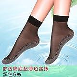 Mesdames Chaussettes Printemps et automne-paquet coton soie bas court furtif ultra-fines chaussettes antidérapantes bas chair