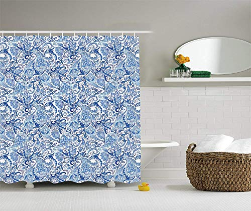 Curtain, Ethnic Asian Native Festive Pattern in Blue Tones Nature Themed Print, Fabric Bathroom Decor Set with Hooks, 60x72 inches Extra Long, Blue Pale Blue White ()