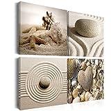 decomonkey | Bilder Steine Spa 40x40 cm | 4 Teilig | Leinwandbilder | Bild auf Leinwand | Vlies | Wandbild | Kunstdruck | Wanddeko | Wand | Wohnzimmer | Wanddekoration | Deko | Spa Zen Natur Sand