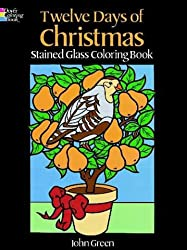 TWELVE DAYS OF CHRITMAS. Staines glass coloring book