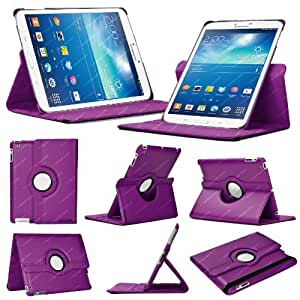 Stuff4 Leather Smart Case with 360 Degree Rotating Swivel Action and Free Screen Protector/Stylus Touch Pen for 8 inch Samsung Galaxy Tab 3 T310/T311 - Purple
