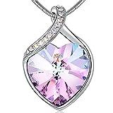 Angelady Halsketten für Frauen mit Amethyst Anhanger Kristallen von Swarovski | Kette Silber Zarte Herz Anhanger mit Zirkonia Diamanten Geschenk für Frauen