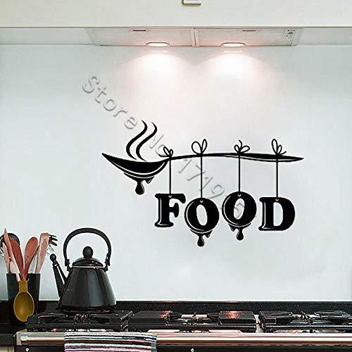 yaoxingfu Wandtattoo Lebensmittel Wort Schriftzug Zeichen Wandaufkleber Löffel Küche Restaurant Cafe Stilvolle Wandvinyl Abnehmbare De ww-1 66x42 cm -