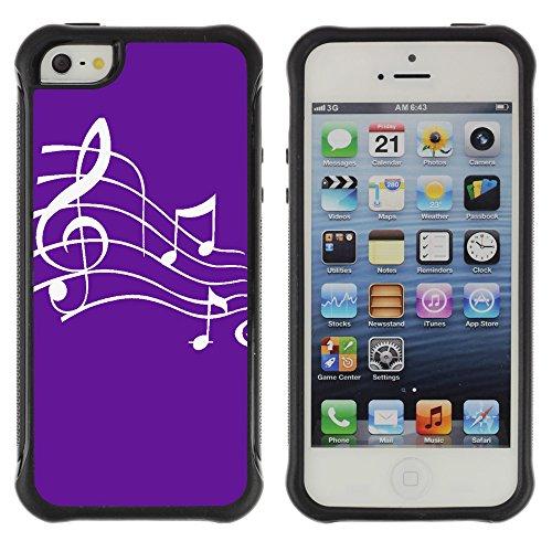 Graphic4You Musik Noten Muster Design Shockproof Anti-Rutsch Weichen Hülle Case Tasche Schutzhülle für Apple iPhone SE / 5 / 5S (Rot) Mauve Violet