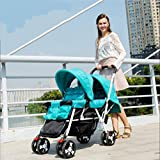 Kinderwagen Doppel-Kinderwagen Doppel-Kinderwagen Kinderwagen Baby-Sitz Kann Liegen,Blue