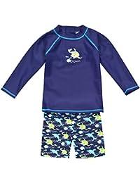 Landora - Conjunto de 2 piezas para bebé, de manga larga, con protección UV 50+ y certificación Oeko-Tex 100, color turquesa