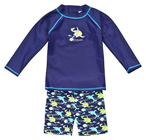 Landora®: Baby- / Kleinkinder-Badebekleidung langärmliges 2er Set Marineblau; in Größe 62/68