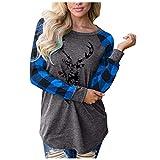 T-Shirt di Natale per Le Donne Aggiornamento Elk/Albero/Auto/Lettera/Cappello Stampa Plaid Tee Raglan Top Donna Casual a Manica Lunga T-Shirt(Blu 10,S)