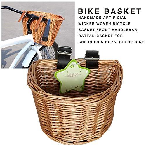 raspbery Fahrradkorb Vorne, Großer handgefertigter künstlicher Fahrradkorb, aus Weidengeflecht mit braunen Lederriemen vorne am Lenker Rattan-Korb für Kinder Jungen Mädchen Fahrrad