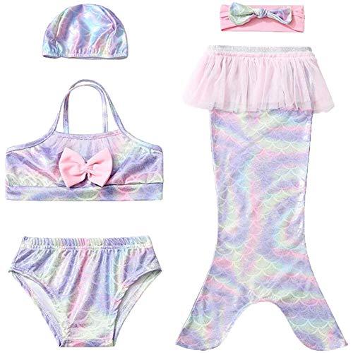 Meerjungfrau Schwanz Bademode Für Mädchen 5 Stück Bikini Sets Cosplay Meerjungfrau Flosse- Prinzessin Badebekleidung Sommer Schwimmbad Fotografieren