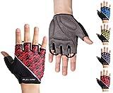 FULL GRIP Halbfinger Fahrradhandschuhe für Männer & Frauen mit stoßdämpfender, Rutschfester und widerstandsfähiger Handinnenfläche für den Radsport inkl. gratis Trainings E-Book (Rot, S)