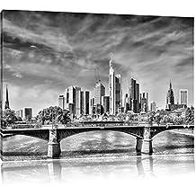 Monocrome, Skyline von Frankfurt am Main , Format: 100x70 auf Leinwand, XXL riesige Bilder fertig gerahmt mit Keilrahmen, Kunstdruck auf Wandbild mit Rahmen, günstiger als Gemälde oder Ölbild, kein Poster oder Plakat