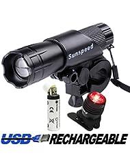 SUNSPEED Fahrradlicht Set,Fahrradbeleuchtung,Fahrradlampe/inkl. Frontlicht und Rücklicht über USB auflanden/500 Lumen /3 Licht-Modi