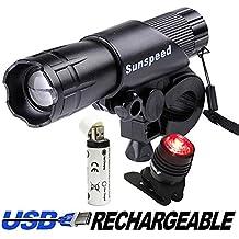 SCONTO X Set Luci LED Ricaricabili a USB a Raggio Regolabile X bici Multiusi + 1 Fanalino Posteriore, Facile da