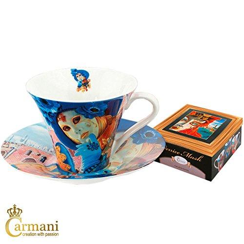 (CARMANI - Porzellan Tee- oder Kaffetasse und Untertasse mit Venezianische Maske von Alex Levin 250ml)